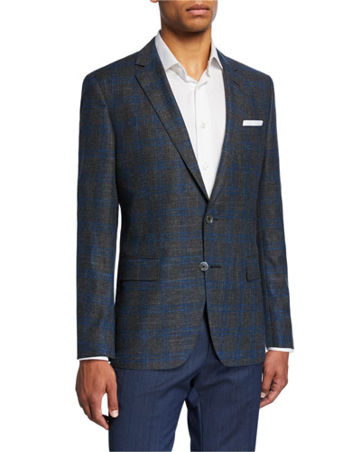 Men's Plaid Slim-Fit Two-Button Jacket