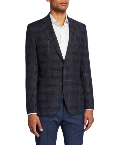 Men's Plaid Regular-Fit Two-Button Jacket