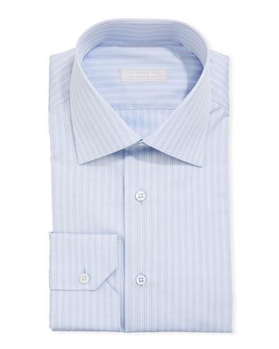 Men's Asti Striped Sport Shirt, Light Blue/Red