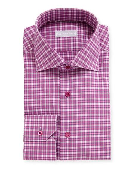 Stefano Ricci Men's Napoli Small Check Dress Shirt