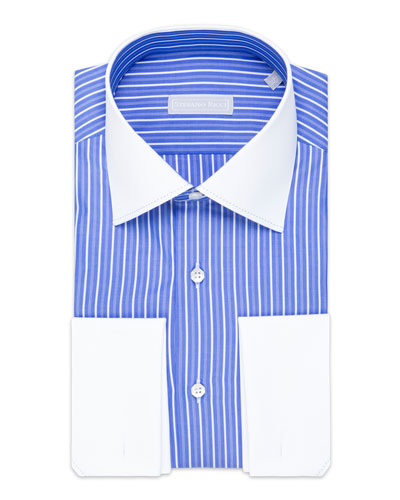 Men's Asti Striped Cotton Dress Shirt with White Collar/Cuffs