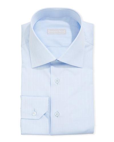 Men's Asti Striped Sport Shirt, Light Blue/White