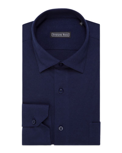 Men's Aquila Handmade Solid Cotton-Cashmere Dress Shirt, Navy