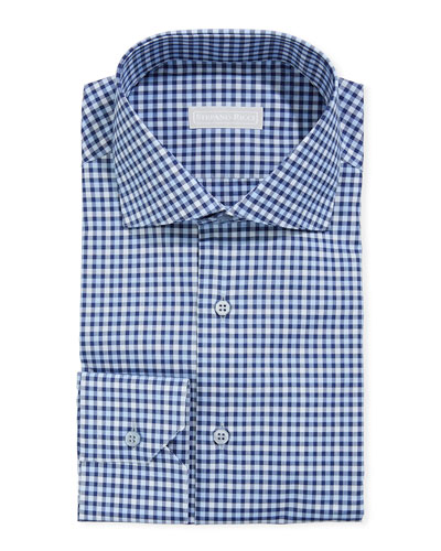 Men's Napoli Small-Check Dress Shirt
