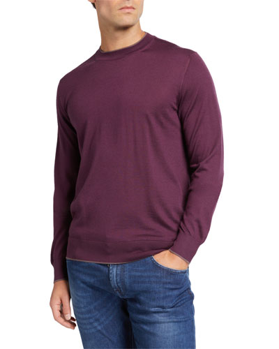 Men's Cashmere-Silk Sweater with Crocodile Leather Detail