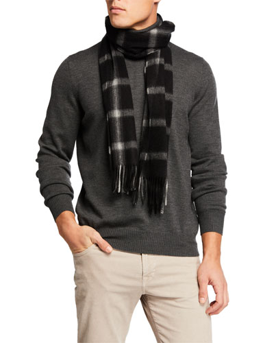 Men's Cashmere Windowpane Check Scarf