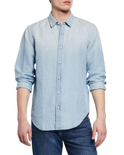 Men's Roadster Long-Sleeve Button-Down Linen/Cotton Shirt