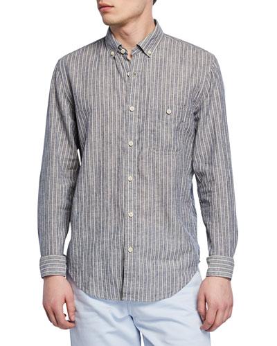 Men's New Icon Striped Button-Collar Linen/Wool Shirt