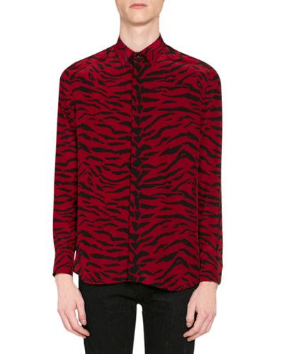 Men's Tiger-Print Silk Button-Down Shirt