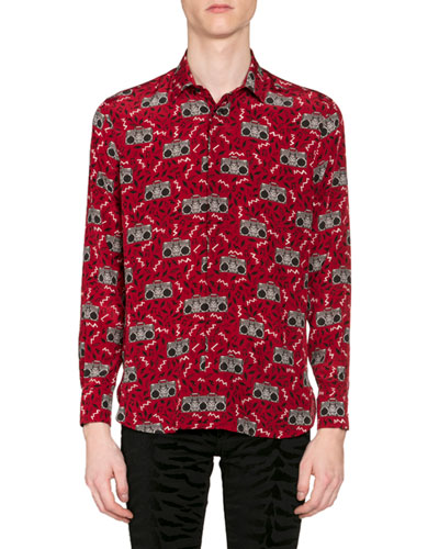 Men's Radio-Print Long-Sleeve Silk Sport Shirt