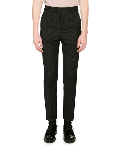 Men's Pinstriped Wool Trousers