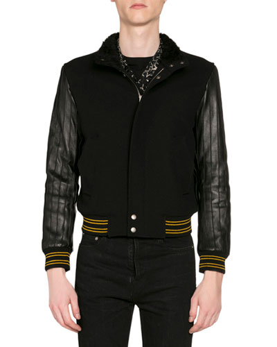 Men's Teddy Varsity Jacket w/ Leather Sleeves