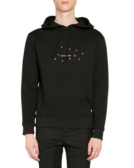 Saint Laurent Men's Stars Logo Pullover Hoodie w/ Kangaroo Pocket