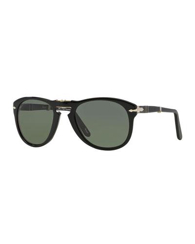 Men's Rounded Acetate Pilot Sunglasses
