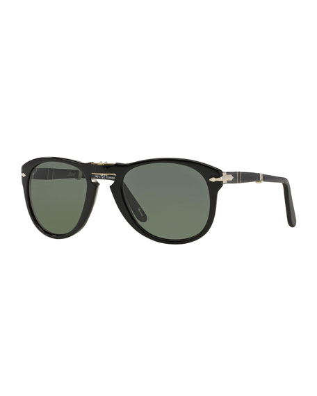 Persol Men's Rounded Acetate Pilot Sunglasses