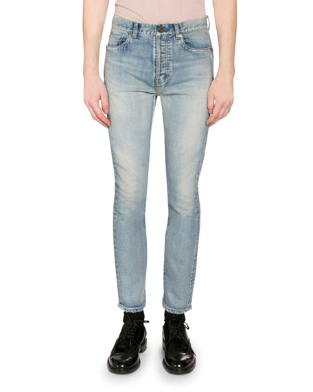 Saint Laurent Men's Washed Stretch Denim Jeans