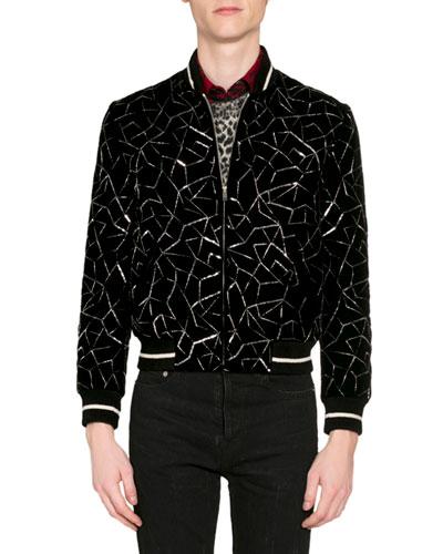 Men's Teddy Embroidered Velvet Bomber Jacket