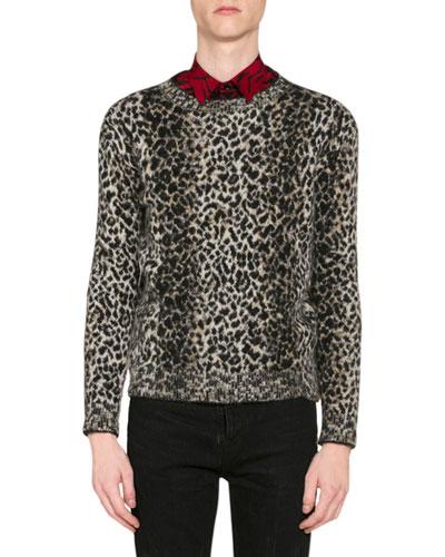 Men's Leopard-Print Wool Sweater