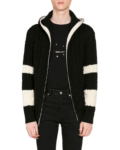 Men's Baja Colorblock Open-Front Cable-Knit Hoodie Cardigan