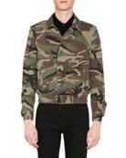 Saint Laurent Men's Camo Aviator Jacket w/ Shearling