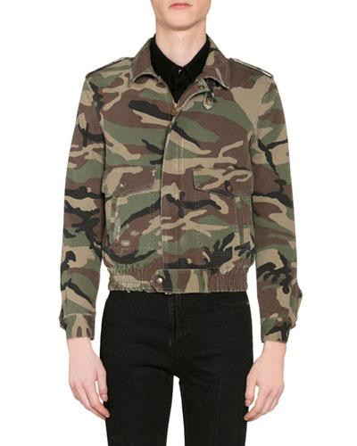 Men's Camo Aviator Jacket w/ Shearling Lining