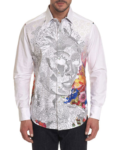 Men's Tigers Eyes Printed Long-Sleeve Button-Down Shirt