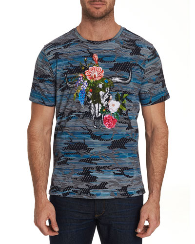 Men's Casperson Camo Skull-Print Short-Sleeve Graphic T-Shirt