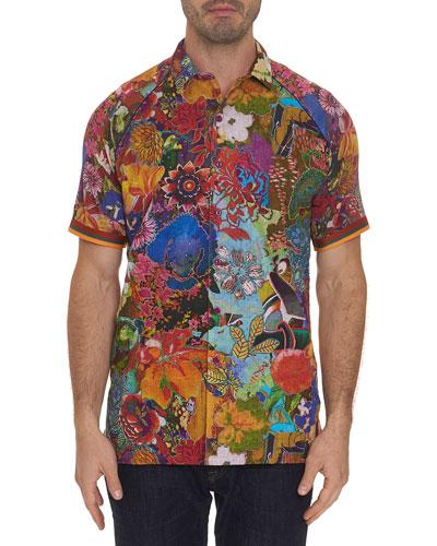 Men's Landscapes Floral-Print Linen Sport Shirt