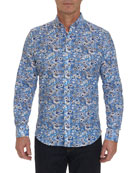 Robert Graham Men's Cameron Floral-Print Linen/Cotton Sport Shirt