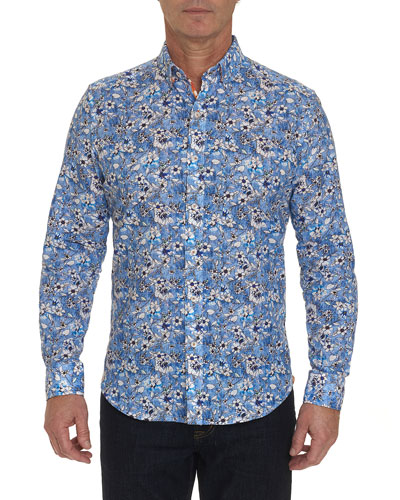Men's Cameron Floral-Print Linen/Cotton Sport Shirt
