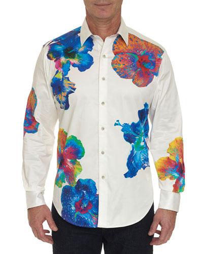Men's Nyali Graphic Floral-Print Sport Shirt