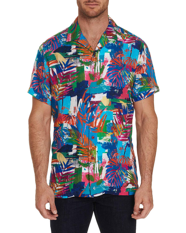 Robert Graham T-shirts MEN'S HIMALAYAS GRAPHIC SHORT-SLEEVE SPORT SHIRT