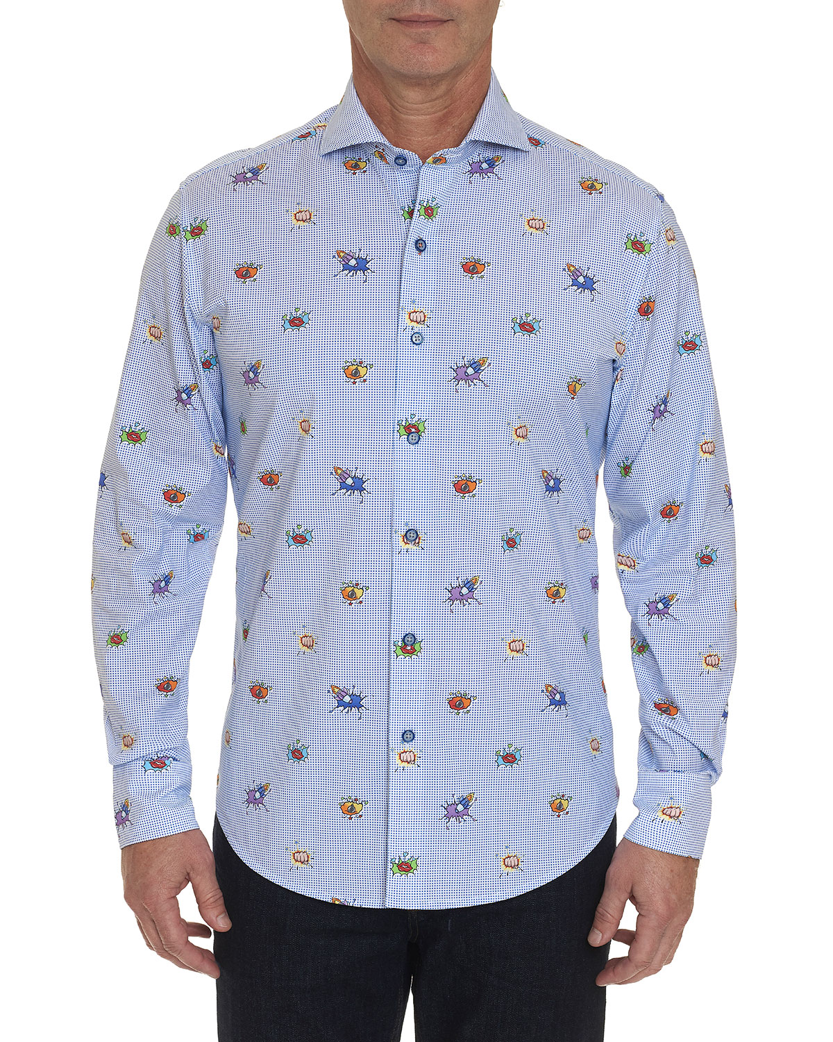 Robert Graham T-shirts MEN'S BOOM SMACK PATTERN SPORT SHIRT