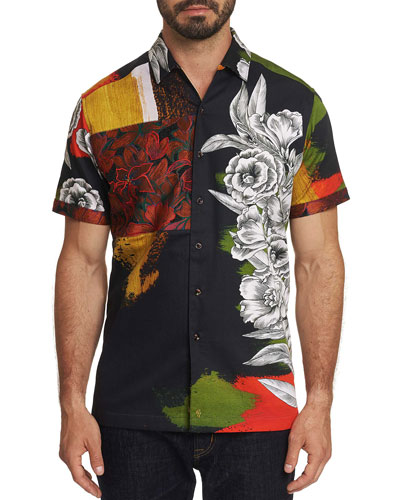 Men's The Floral Skull Short-Sleeve Button-Down Shirt