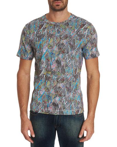 Men's Bellflora Abstract-Print Short-Sleeve Cotton T-Shirt