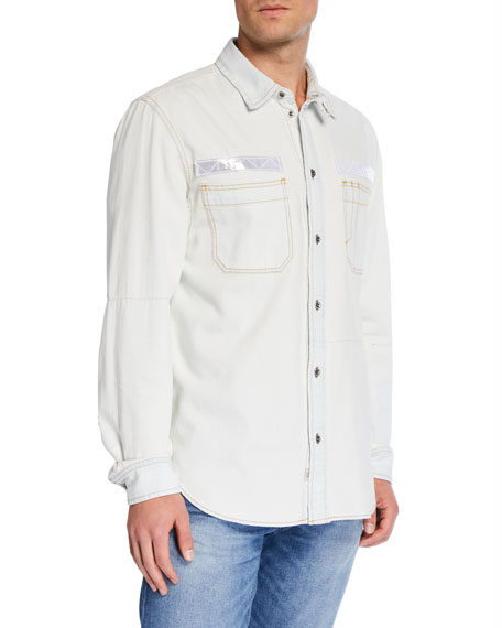 Diesel Men's Fred Reflective-Trim Denim Sport Shirt