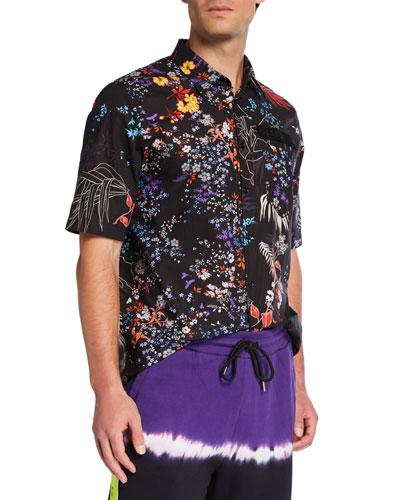 Men's Graphic Floral Short-Sleeve Sport Shirt