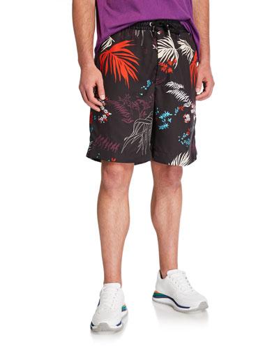 Men's P Notery Foliage-Print Shorts