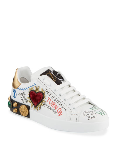 Men's Graffiti Portofino Jeweled Low-Top Sneakers