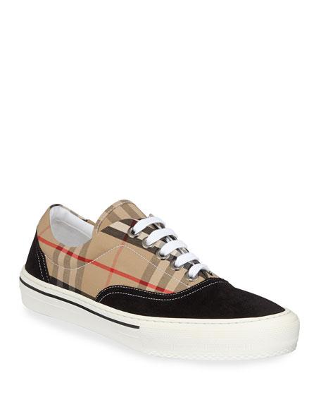 Burberry Men's Wilson Vintage Check Cotton & Suede Sneakers
