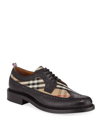 Men's Arndale Vintage Check & Leather Wing-Tip Derby Shoes