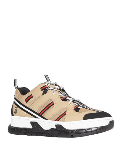 Men's Union Icon Stripe Mesh & Leather Sneakers