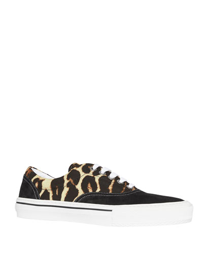 Men's Leopard-Print Canvas & Suede Sneakers