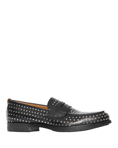 Men's Emile Studded Leather Penny Loafers