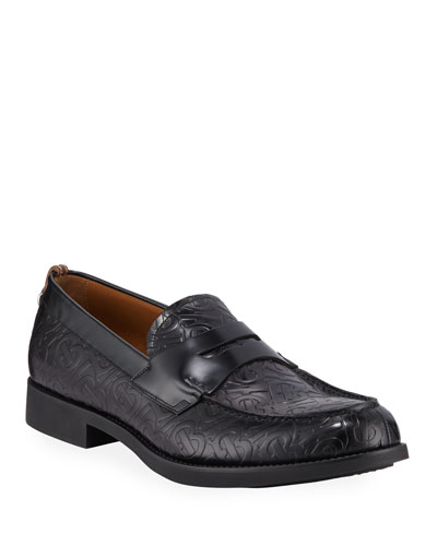 Men's Emile TB-Logo Embossed Leather Penny Loafers