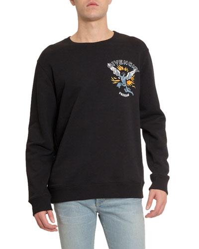 Men's Freedom Icarus Print Crewneck Cotton Sweatshirt