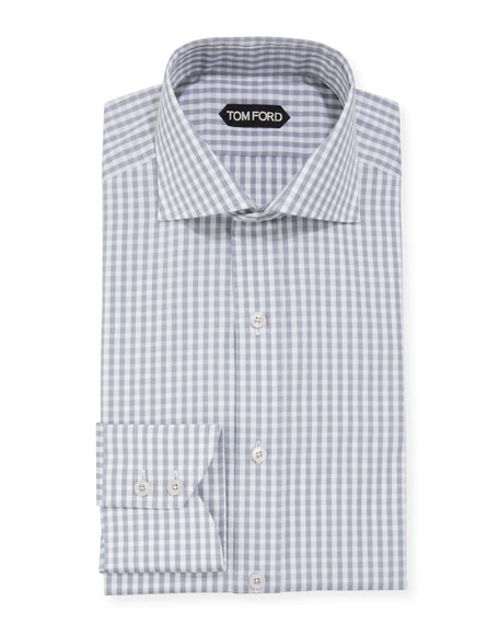 TOM FORD Men's Dobby Gingham Dress Shirt
