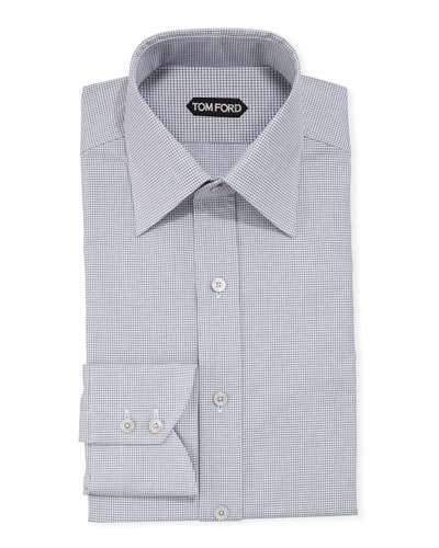 Men's Micro-Check Dress Shirt w/ Mother-of-Pearl Buttons