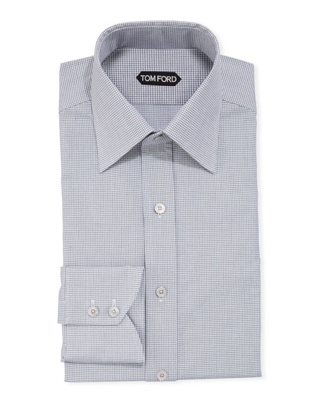 TOM FORD Men's Micro-Check Dress Shirt w/ Mother-of-Pearl Buttons