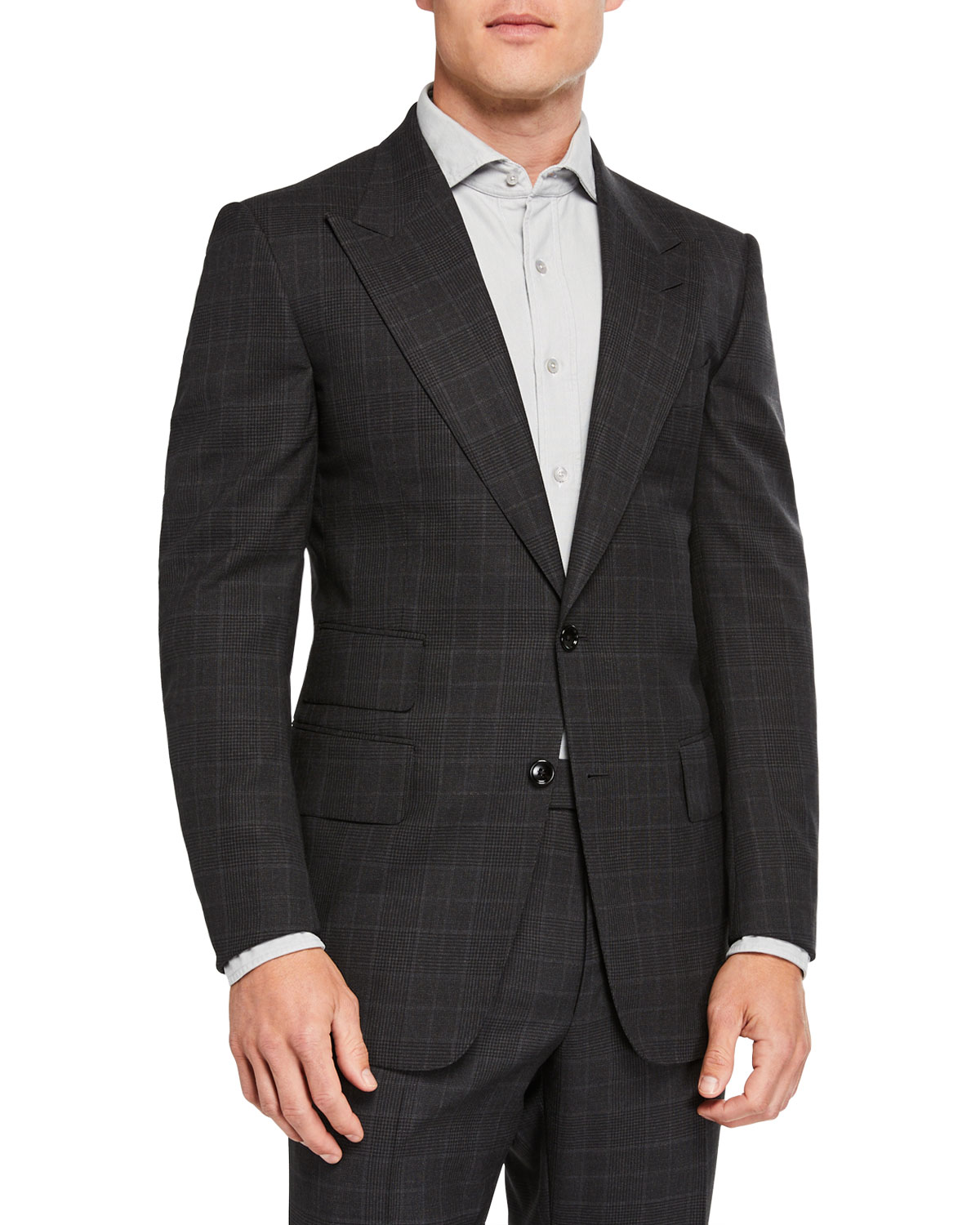 Tom Ford Men's Windsor Prince-Of-Wales Check Two-Piece Suit In Gray
